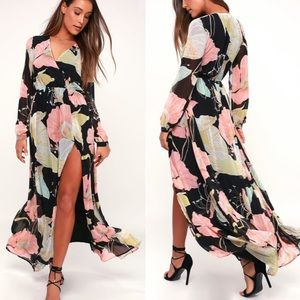 WONDROUS WATER LILIES FLORAL PRINT MAXI DRESS